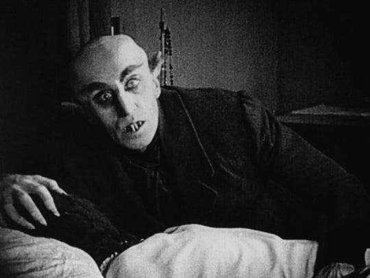"""Nosferatu,"" portrayed by actor Max Schreck was probably the first bald screen villain."