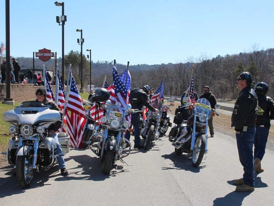 Bikers from Warriors' Watch Riders, Patriot Guard Riders