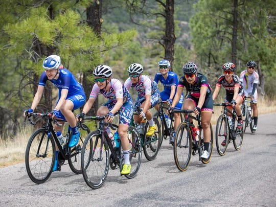 The peloton advances in Stage 5 of the Tour of the Gila on Sunday, April 22, 2018.