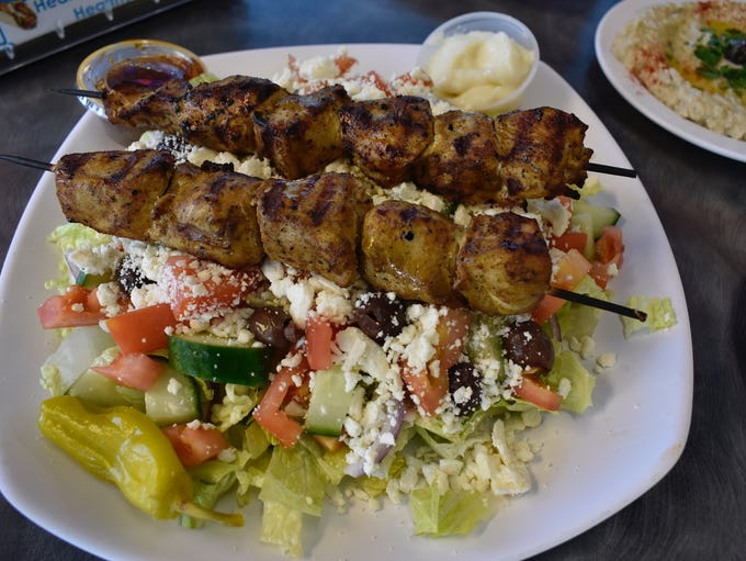 New on the menu at Anthony's--Greek salad with kabobs