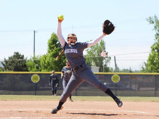 Marysville High School senior Paige Ameel throws in her final high school game.