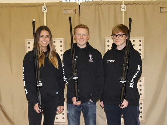 The Reno High rifle team is going to the national championships later this month. Left to right: MaKayla Poggione, Kevin Behan, Bryn Preston. Not pictured Alex Haiki.