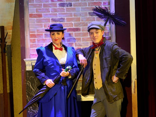 "Mary Poppins (Allison Fernberg) and Bert (J.T. Schaeffer) in ""Mary Poppins: The Broadway Musical,"" which opens at 7:30 p.m. tonight and 2 and 7:30 p.m. Saturday. The musical runs Thursdays, Fridays and Saturdays though July 21. There are 2 p.m. Saturday matinees each weekend."