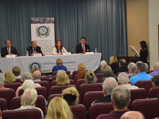 Collier County commissioners Andy Solis and Penny Taylor and two challengers for their seats, Brad Schiffer and Stephen Jaron, discussed topics at a public forum in North Naples on Monday, July 10, 2018.