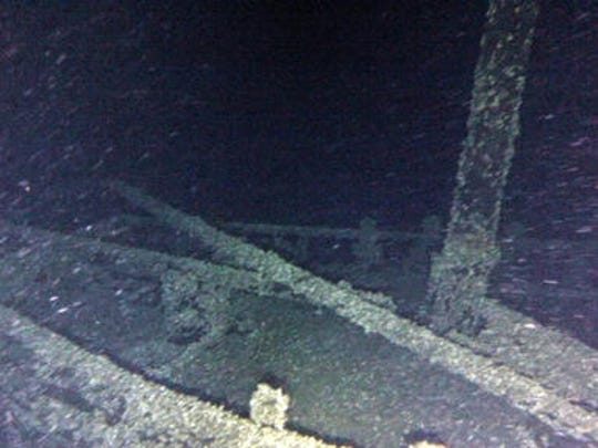 "In this undated photo provided by Roger Pawlowski , the bow area and mast of the ""Black Duck"" is shown in 350 feet of water off Oswego, N.Y. Underwater explorers say they've found the 144-year-old Lake Ontario shipwreck of the rare sailing vessel that typically wasn't used on the Great Lakes. Western New York-based explorers Jim Kennard and Roger Pawlowski announced Friday, Nov. 25, 2016, that they identified the wreck as the Black Duck in September, three years after initially coming across it using side-scan sonar in 350 feet of water off Oswego, NY."