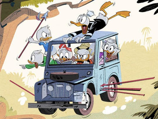 """This image released by Disney XD shows a scene from Disney's """"DuckTales,"""" an all-new animated comedy series based on the Emmy Award-winning series starring Scrooge McDuck and his grandnephews Huey, Dewey and Louie, and Donald Duck. The series is set to debut in 2017 on Disney XD."""