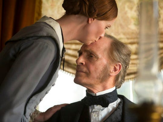 """This image released by Music Box Films shows Cynthia Nixon, left, and Keith Carradine in a scene from, """"A Quiet Passion."""""""