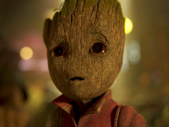 "This image released by Disney-Marvel shows the character Groot, voiced by Vin Diesel,  in a scene from, ""Guardians Of The Galaxy Vol. 2."""
