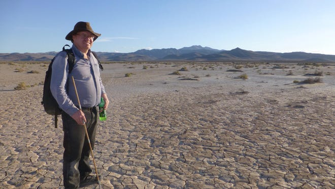 Scott Harlan of Salinas searches for meteorites at Misfit Flats, a dry lake bed southeast of Reno in Nevada.