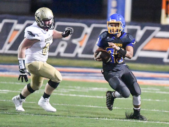 Westview's Cole Sullivan attempts to outrun Dresden's