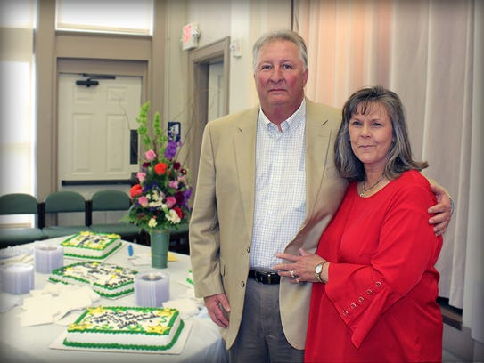 Retired DeSoto Parish Sheriff Rodney Arbuckle and wife Carol at his retirement Party at Clista Calhoun Center, Mansfield.