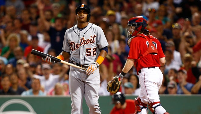 Tigers leftfielder Yoenis Cespedes reacts after striking out to end the top half of the eighth inning of Friday's loss in Boston.