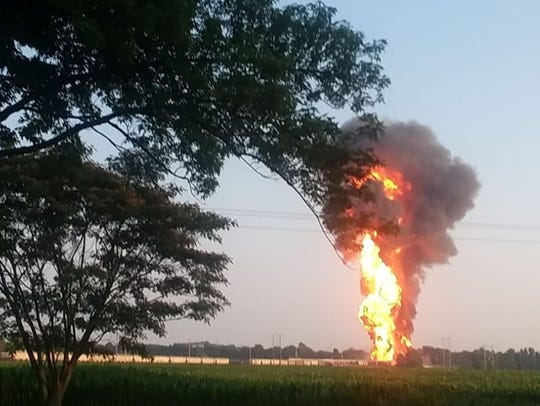 A view of the fire coming from a train derailment in