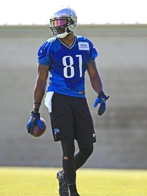 Detroit Lions wide receiver Calvin Johnson practices in Allen Park.