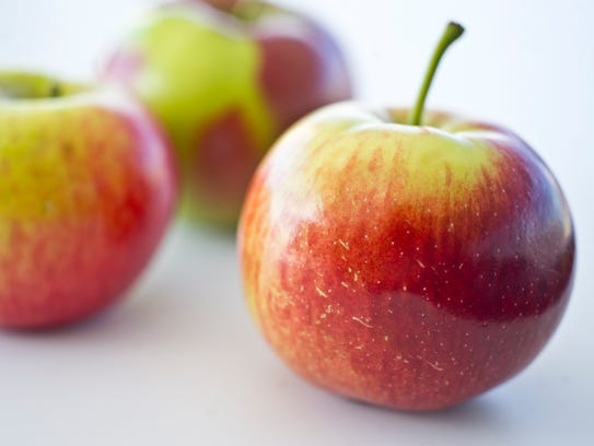 From front, Empire, Cortland and McIntosh apples from