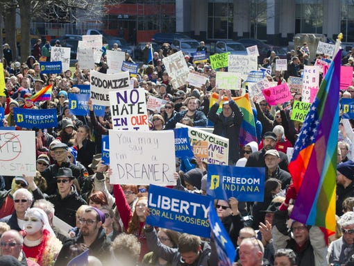 Thousands of opponents of Indiana's Religious Freedom