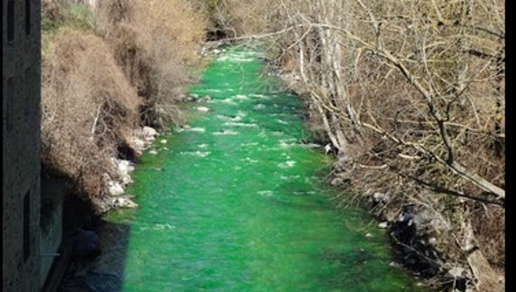 Spanish river turns bright green, alarming residents