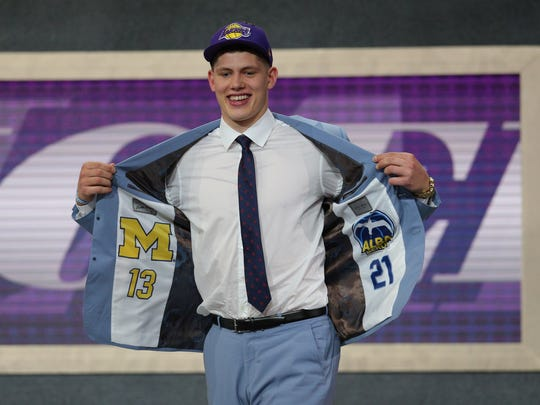 Moritz Wagner reacts after being selected by the Lakers on Thursday.