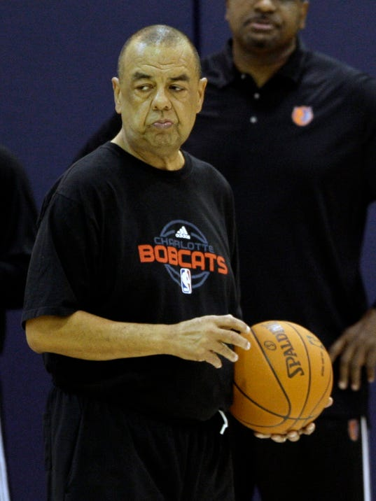 FILE - In this Sept. 30, 2009, file photo, Charlotte Bobcats assistant coach Jeff Capel Jr. participates in an NBA basketball practice in Charlotte, N.C. The former Old Dominion and Fayetteville State coach has died, less than two years after being diagnosed with ALS. Fayetteville State Chancellor James A. Anderson said family members told him of Capel's death Monday, Nov. 13, 2017. He was 64. (AP Photo/Chuck Burton, File)