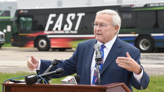 Oakland County Executive L. Brooks Patterson promotes the SMART millage and service expansion on Tuesday outside an Amazon distribution center in Shelby Township.