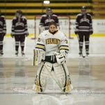 Catamounts goalie Madison Litchfield (30) stands on the blue line during player introductions last year against Colgate at Gutterson Fieldhouse.