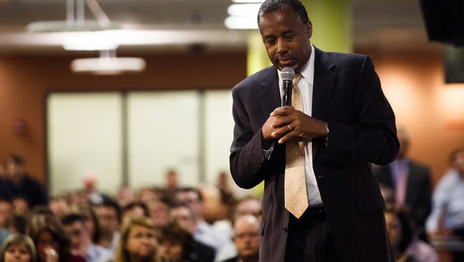 Republican presidential candidate Ben Carson speaks during a campaign event at Nationwide Insurance on Monday, Jan. 25, 2016, in Des Moines.