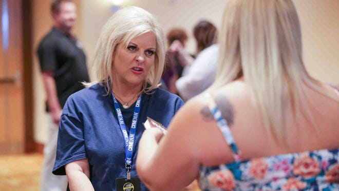 True crime media personality Nancy Grace signs autographs during the first ever CrimeCon, held at the JW Marriott in Indianapolis Ind. on Friday, June 9, 2017.  The inaugural event which runs June 9th-11th is created to immerse fans in the genre.