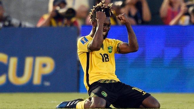 Jamaica forward Owayne Gordon reacts after beating Mexico at Rose Bowl.
