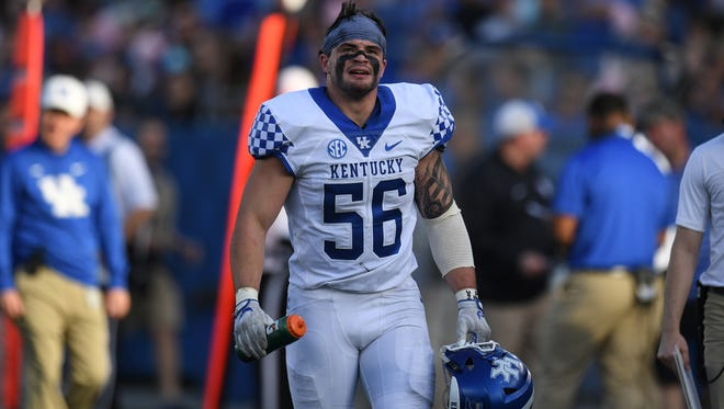UK LB Kash Daniel during the University of Kentucky spring football Blue-White scrimmage in Lexington, KY on Friday, April 13, 2018.