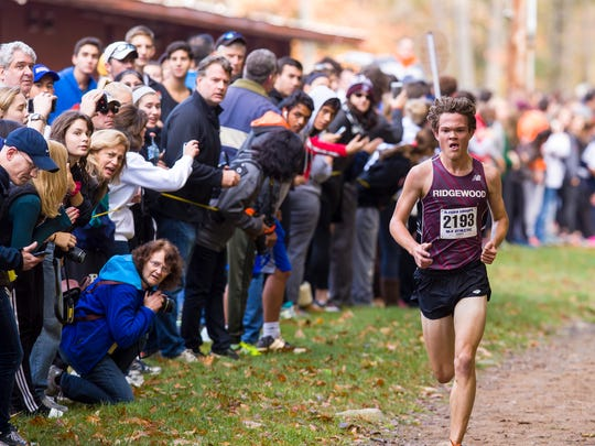 Will Baginski of Ridgewood en route to his win at the Bergen County Cross-Country Meet of Champions at Darlington County Park in October.        GEORGE MCNISH/Special to NorthJersey.com