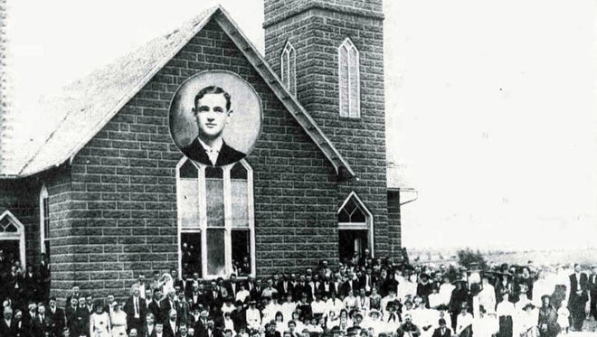 The Rev. David Glovier's photo is inset at the top of this circa 1917 picture of the Verona United Brethren Church (later to become the Verona Evangelical United Brethren Church). It was near here that Glovier lived, and was visited by a stranger who perpetrated what is an enduring mystery in the Staunton and Augusta County area. This church was located on the grounds of the present cemetery on the east side of U.S. 11.