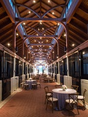 A barn at Providence Hill Farm is decorated for Brian and Alison Leach's wedding in 2014.
