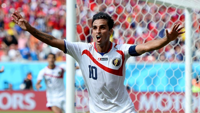 Bryan Ruiz of Costa Rica celebrates after scoring a first-half goal during a World Cup Group D match against Italy on Friday in Recife, Brazil.