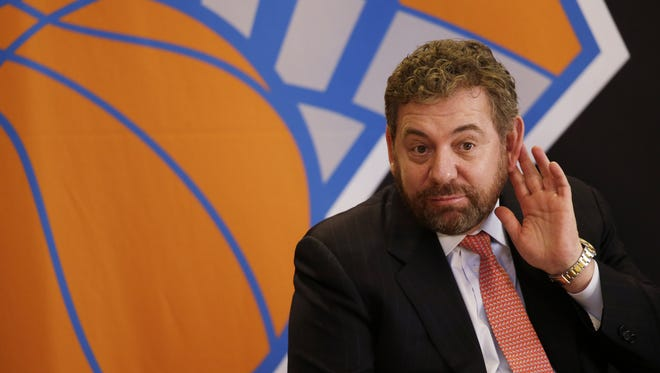 James Dolan, executive chairman of  Madison Square Garden, listens to a question at a news conference Tuesday where he introduced Phil Jackson as the new president of the Knicks.