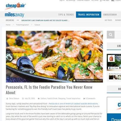 Pensacola has been featured on the travel blog CheapOair.