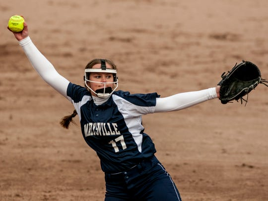 Marysville's Paige Ameel throws a pitch during a softball