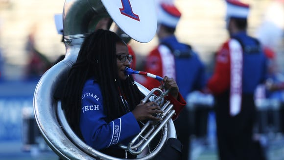 Members of the Marching Band of Pride play during halftime as Louisiana Tech hosts University of Texas at San Antonio for the Bulldogs' homecoming game on Saturday, Nov. 12, 2016.