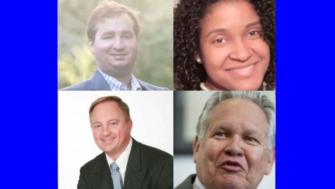 Candidates running for state auditor, starting top left and continuing clockwise. Republican Elliott Lipinsky, Democrat Miranda Joseph, Republican incumbent Jim Zeigler and Republican Stan Cooke.