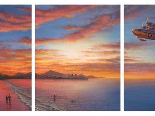 "The photograph of a sunset, taken during a friend's vacation, inspired this triptych, ""Hawaiian Air,"" by Robert Aikins. It features a Hawaiian Airlines 1935 Sikorsky S-43 flying boat."