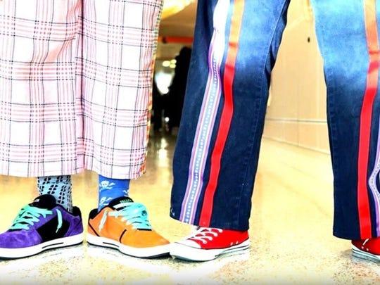 The footwear of Ludlow-based Circus Mojo clowns at Cincinnati Children's Hospital Medical Center.