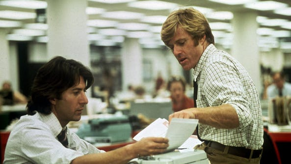 Dustin Hoffman (left) and Robert Redford played Washington