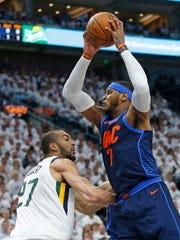 Oklahoma City Thunder forward Carmelo Anthony (7) goes