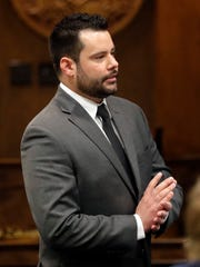 Defense lawyer Scott Stebbins presents his opening statement in Brown County Circuit Court during the start of trial for George Burch, who is accused of murdering Nicole VanderHeyden in May 2016.