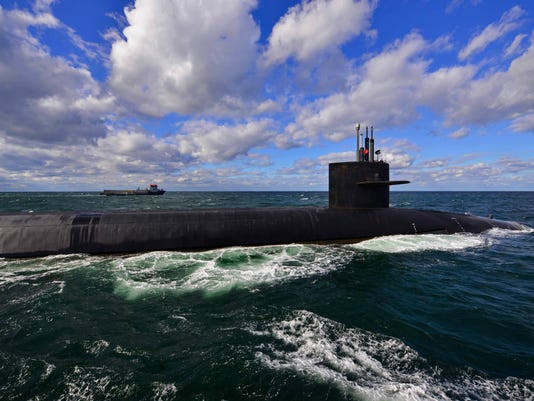 USS Tennessee (SSBN 734) underway in the Atlantic Ocean