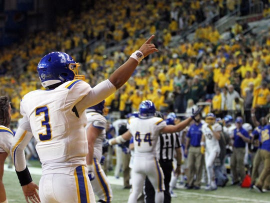 South Dakota State quarterback Teryn Christion points