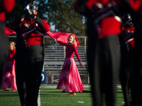 Central High School's marching band performs on the