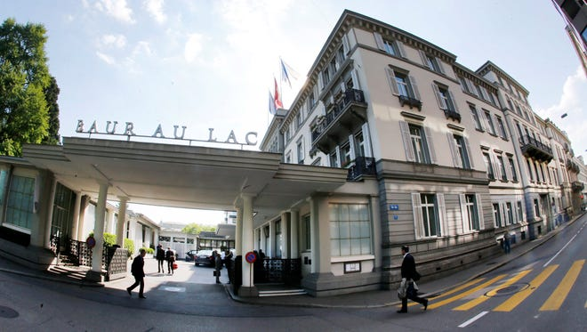 """The hotel Baur au Lac in Zurich on May 27, 2015. Swiss prosecutors opened criminal proceedings into FIFA's awarding of the 2018 and 2022 World Cups, only hours after seven soccer officials were arrested at this hotel pending extradition to the U.S. in a separate probe of """"rampant, systemic and deep-rooted"""" corruption."""