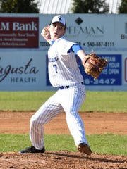 Robert E. Lee's Adam Layer delivers a pitch in the