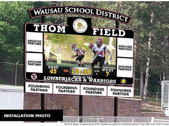An artist conception of what the proposed video scoreboard