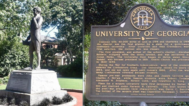 """The statue of University of Georgia founder Abraham Baldwin on the university's North Campus (left) and a historical marker at the entrance to the UGA campus at the Arch on Broad Street which mentions the """"War for Southern Independence""""."""